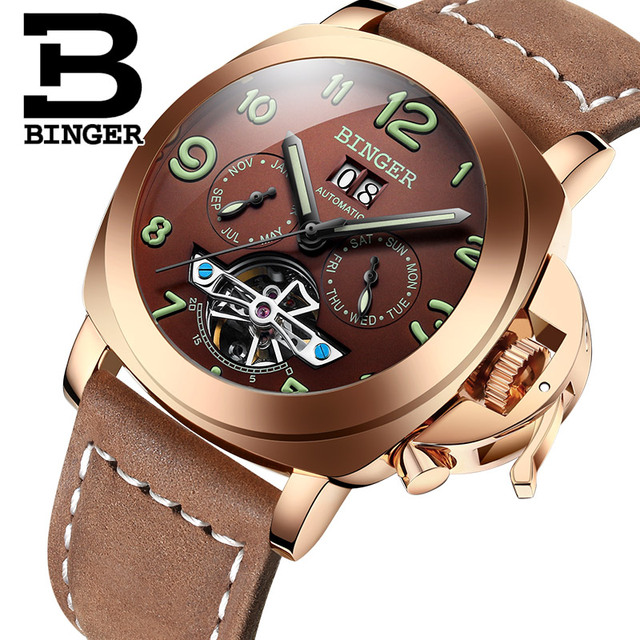 Original Luxury Brand BINGER Style PANERAI Skeleton Tourbillon Design Automatic Mechanical With Leather Band Strap 1