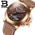 Swiss Famous Brand Watches Men Automatic Mechanical Watch Luxury Style Leather Strap Hollow Tourbillon Design BINGER B-1170 3Bar