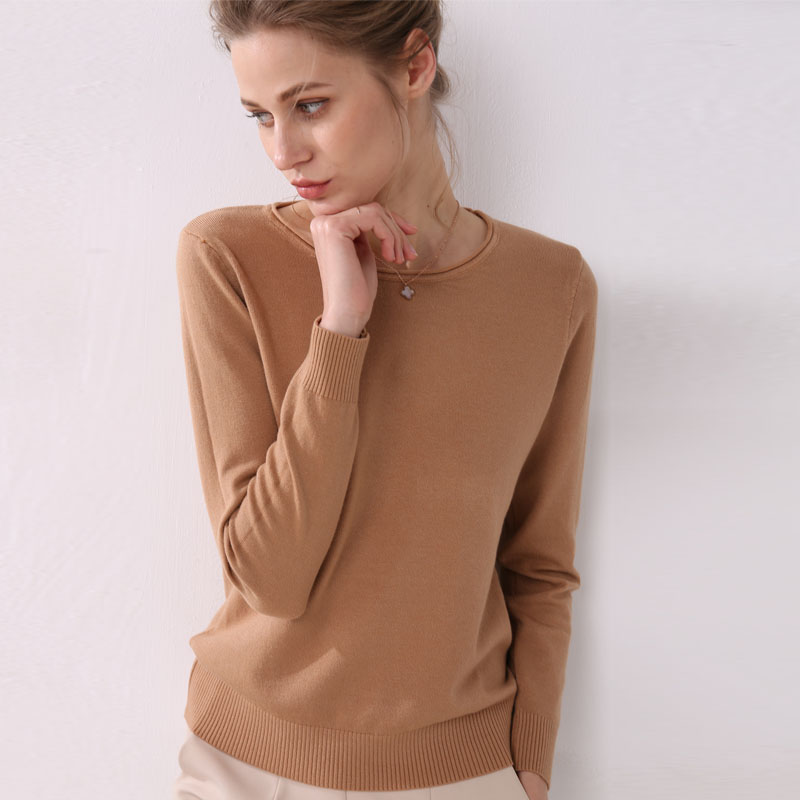 Women Knitting Sweater Long Sleeves Curled O-neck Collar Female Short Casual Solid Fashion Thin Pullover Ladies Winter Sweaters