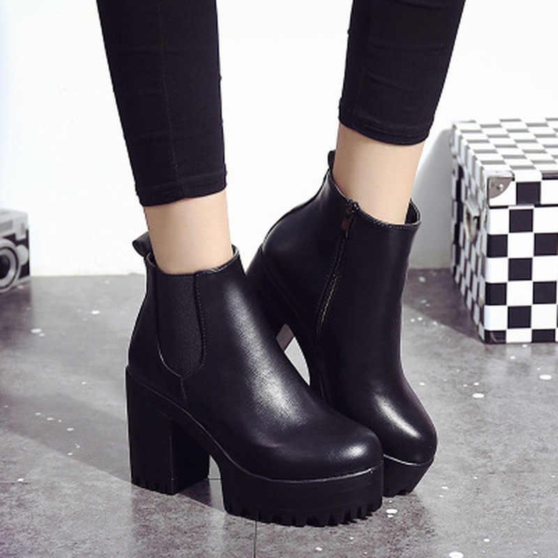 Chelsea çizmeler 2019 kadın deri kadın botları kalın topuklu yarım çizmeler kadınlar için yuvarlak ayak kış ayakkabı kadınlar düz platformu botları
