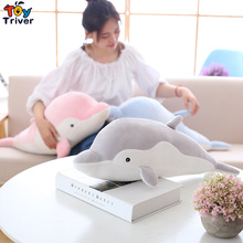 Dolphin Plush Toy Triver Stuffed Pink Grey Blue Dolphins Ocean Animal Doll Pillow Baby Kids Girl Birthday Gift Home Shop Decor