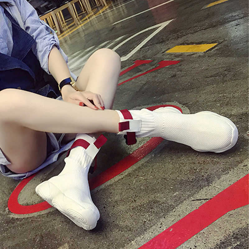Сезон весна-осень; женская обувь; коллекция 2019 года; элегантная ткань; кроссовки в Корейском стиле; Повседневные слипоны; Сетчатые эластичные кроссовки с круглым носком