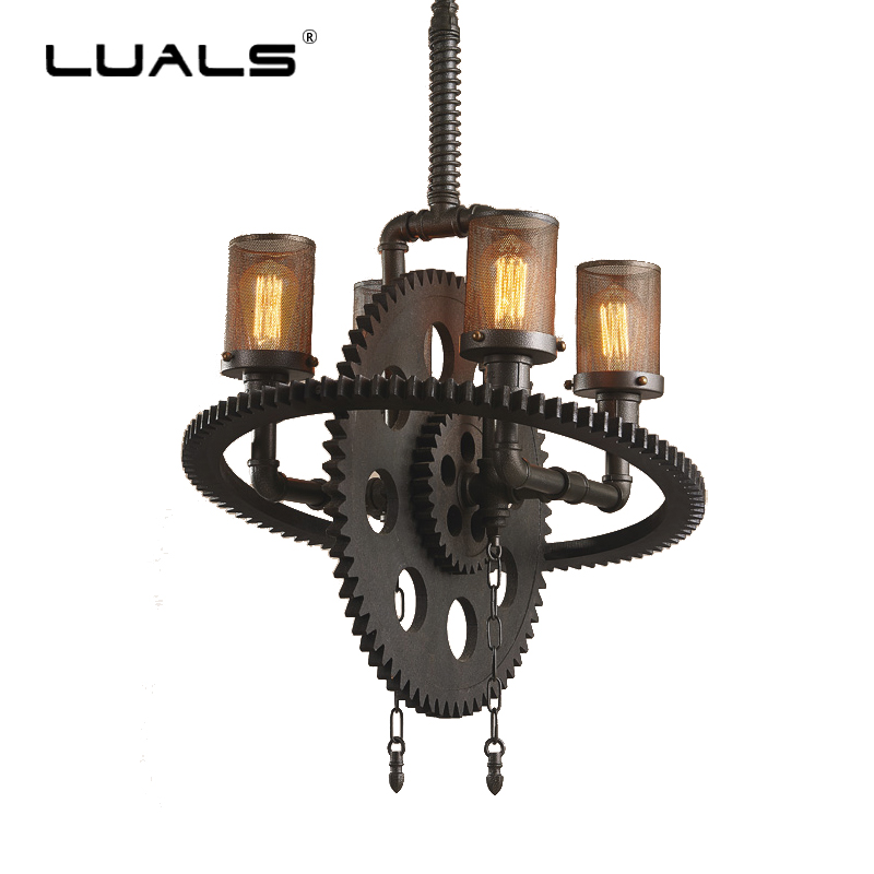 Loft Industrial Style Pendant Lighting Retro Pendant Lights Creative Gear Edison Pendant Light Bar Restaurant Art Hanging Lamp|hanging lamp|lamp style|style lamp - title=