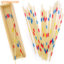New Hot Educational Wooden Traditional Mikado Spiel Pick Up Sticks With Box Game Spillikin Game stick Multiplayer Games qenueson цена
