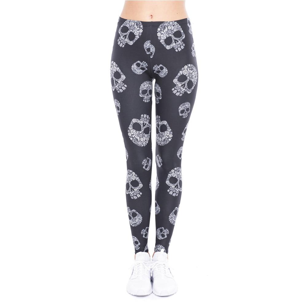 High Elasticity Women Legging Skull Printing Black Fitness Leggings Fashion High Waist Woman Pants