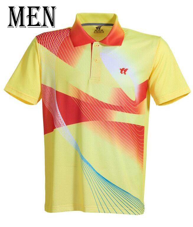 Спортивная быстросохнущая дышащая футболка для бадминтона, майки для женщин/мужчин, волейбол, гольф, настольный теннис, боулинг, мужские футболки - Цвет: Man yellow Shirt