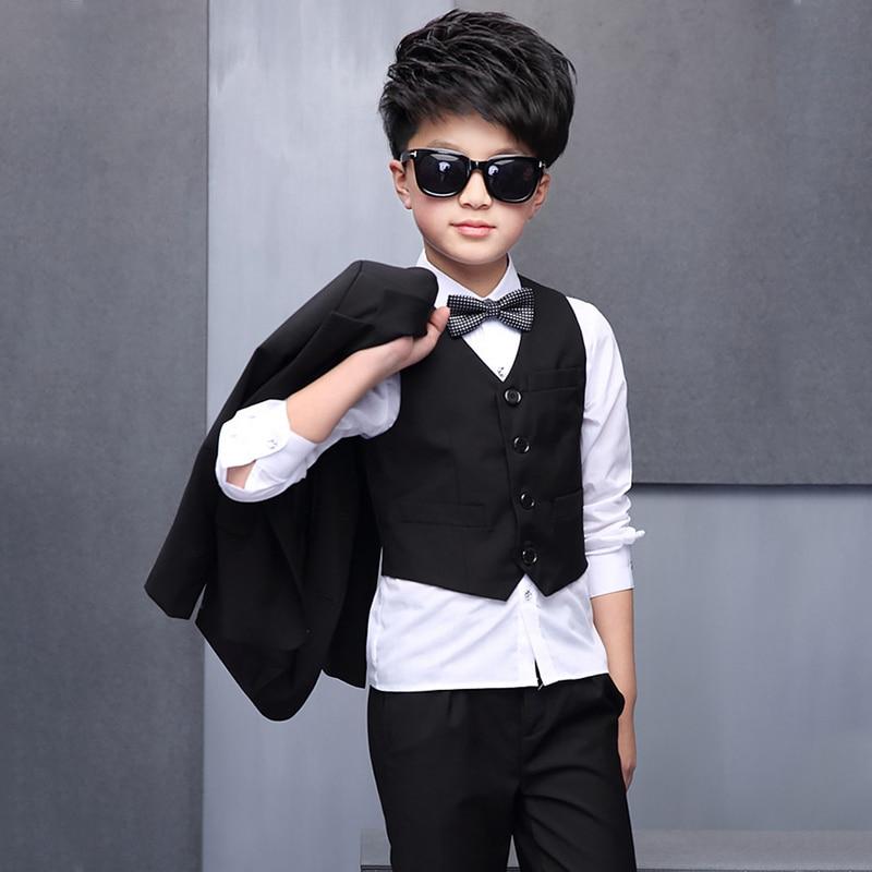 6a011a6d7 Muchachos Negro Esmoquin de la Boda Negro Camisa Chaleco y Pantalón 4 UNIDS  Prom traje Ropa de Los Cabritos Niños Terno Trajes Funerarios para partido  en ...