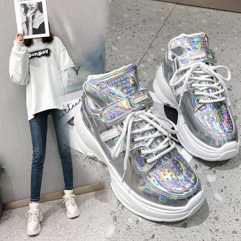 Glitter Designer Platform Sneakers Women Casual Thick Bottom Shoes Basket Tenis Female Chunky Sneakers 2019 Zapatos De Mujer Сникеры