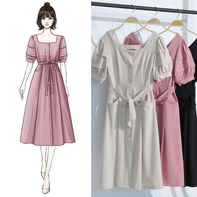 Nouveau 2019 robe femme automne bulle manches rétro-français fille minimaliste col carré F0767