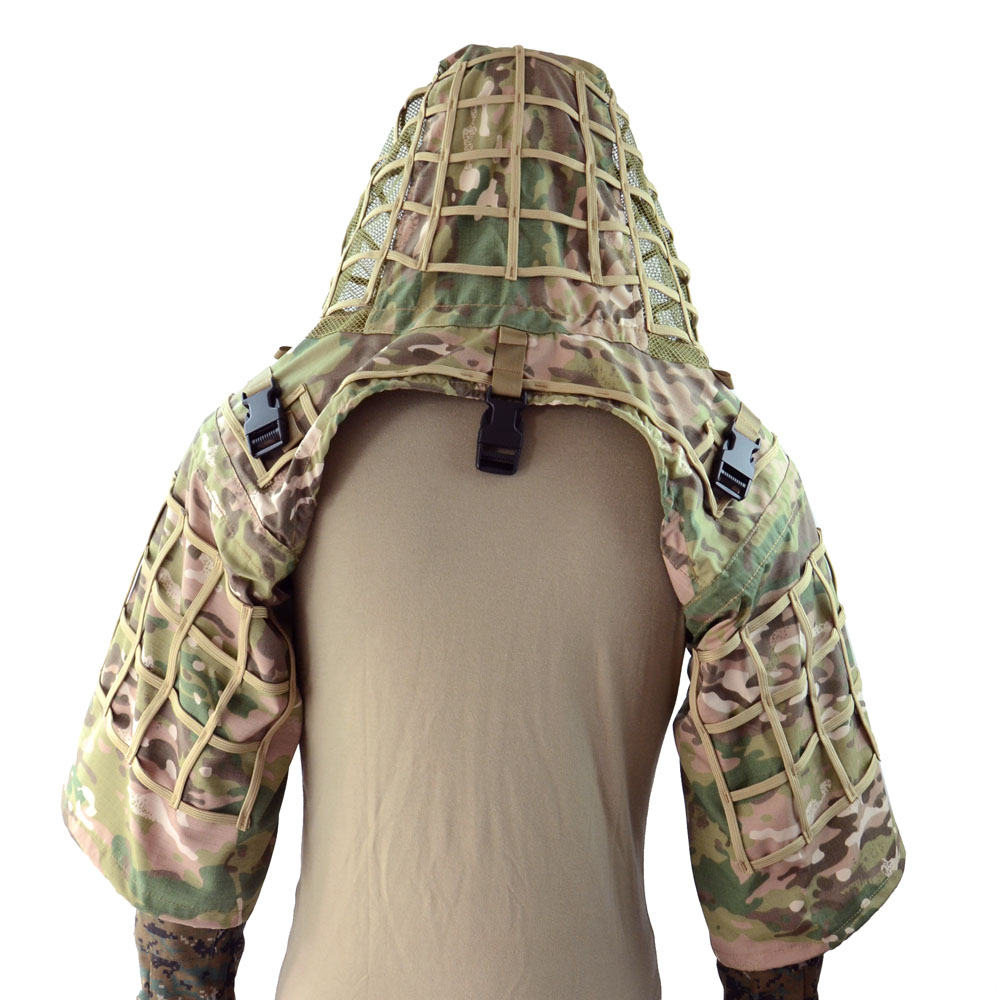 ROCOTACTICAL Ghillie Suit Foundation Made from Ripstop Fabric Camouflage Tactical Sniper Coat  Viper Hoods CP Multicam/Woodland hoodie
