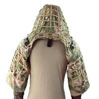 Base de costume Ghillie rocotactique en tissu ripstop Camouflage tactique manteau de Sniper capots CP Multicam/boisé