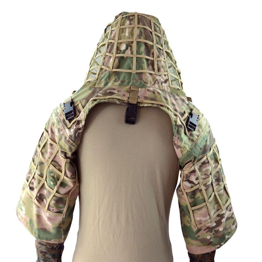 ROCOTACTICAL Ghillie Anzug Foundation aus Ripstop Stoff Camouflage Tactical Sniper Mantel Viper Hauben CP Multicam/Woodland