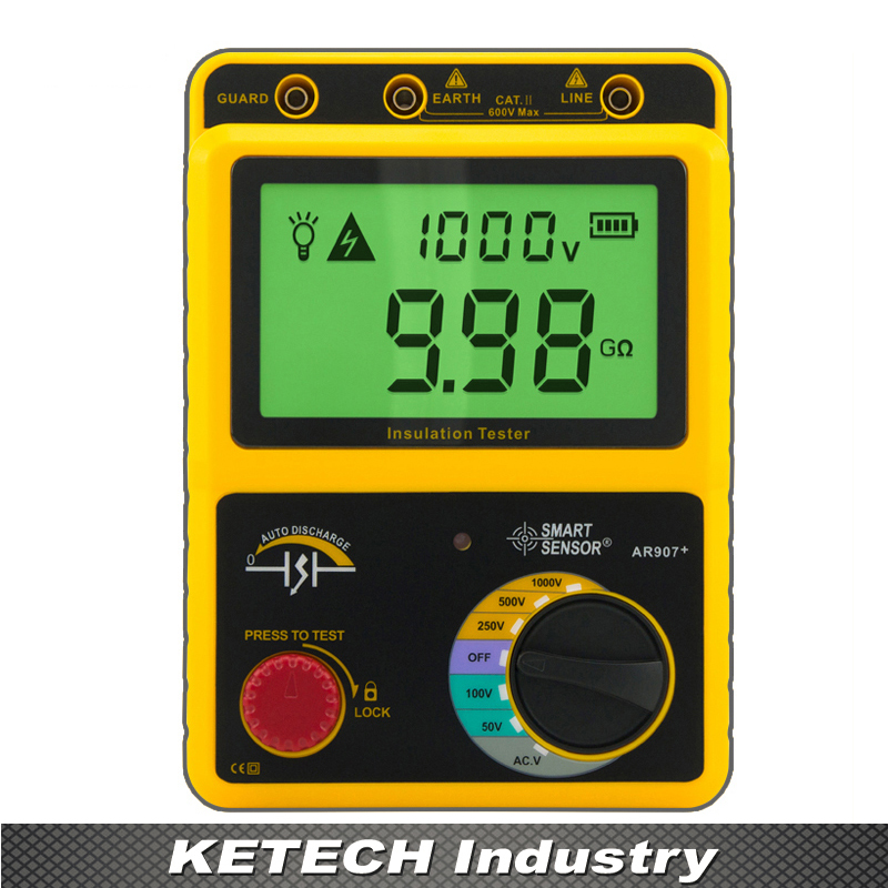 AR907 Voltage Insulation Meter 1000V Digital Insulation Resistance Tester Digital Megger  as907a digital insulation tester megger with voltage range 500v 1000v 2500v