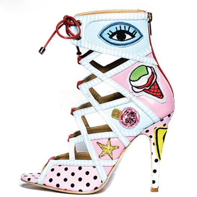 669d7f05af7f Woman Cute Multi Color Eyes Ice cream Print Ankle boots Peep Toe Gladiator  Dot Stripe High Heels Sandals Female Lace-up Shoes