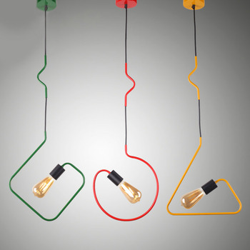 iron Triangular rectangle pendant lights Creative living room restaurant dining cafe bar red/green/yellow lamps ZA FG891