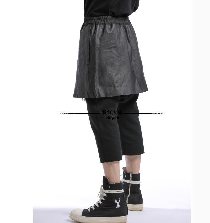 Pantalon En Personnalité 28 Recadrée Élastique D'origine Noir Taille Harem 46 Jupe Hommes Coiffeur Nouveau Splice Cuir Casual Marée tCxshQrd