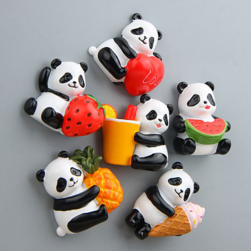 Action-Figure-Toy Magnet Animals Model Cartoon Cute Panda 1-Pc Refrigerator Fridge Fruit