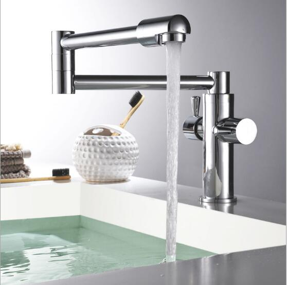 Rotating Foldable Basin faucet brass bathroom faucet luxury Chrome sink kitchen faucet heightened water tap bathroom