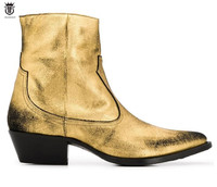 2019 New men shoes party gold matt leather boots make Chelsea boots men dress booties point toe mujer botas med heel 5cm