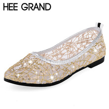 HEE GRAND Gitter Ballet Flats Breathable Loafers Summer Shoes Woman Slip On Gold Silver Casual Women Shoes Size 35-40 XWD3788