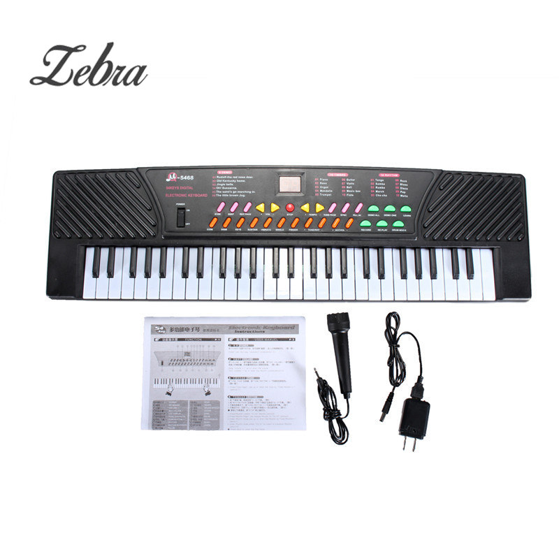 Zebra 54 Keys Educational Digital Music Electronic Keyboard Piano with Microphone For Musical Instruments Kids Gift zebra musical instruments keyboard instruments piano sw 37k 37 keys melodica mouth organ with handbag