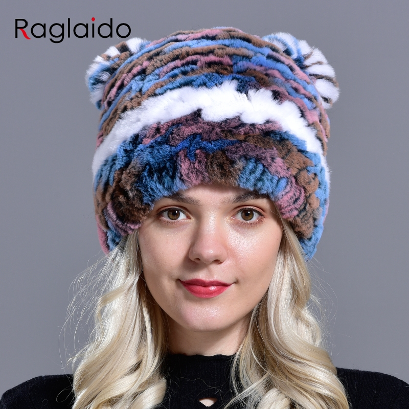Winter Hats For Womens Knitted Rex Rabbit Girls Natural Fur Warm Cap Fashionable Fluffy Caps With Ears Adult Children Snow Hat