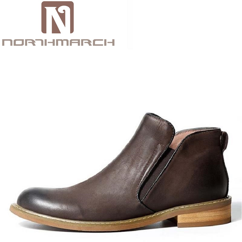 NORTHMARCH Brand Genuine Leather Mens Boots Top Quality Italian Designer Wedding Shoes Men Business Cowhide Chelsea Boots fashion top brand italian designer mens wedding shoes men polish patent leather luxury dress shoes man flats for business 2016