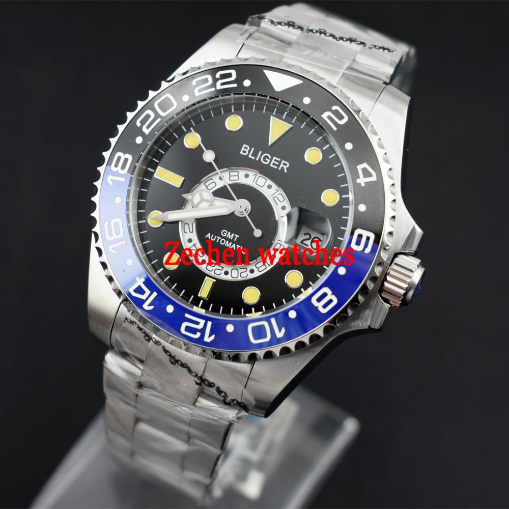 Bliger 43mm watch GMT Automatic watch Ceramic Blue black Bezel Sapphire Steel Luminous Mens Watch