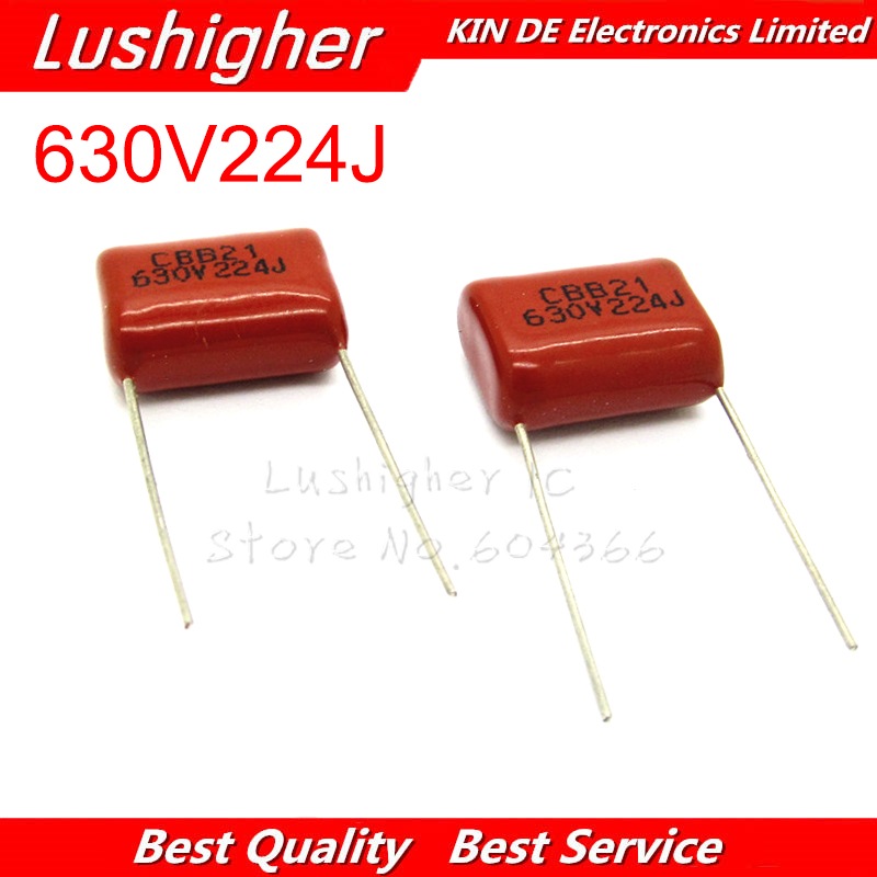 10PCS 630V224J 0.22UF Pitch 15mm 224 630V 224J 220nf CBB Polypropylene Film Capacitor