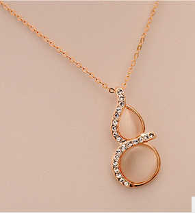 Korean Fashion Personalized Gourd Sparking Rhinestone Opal  Choker Clavicular Necklaces N2063