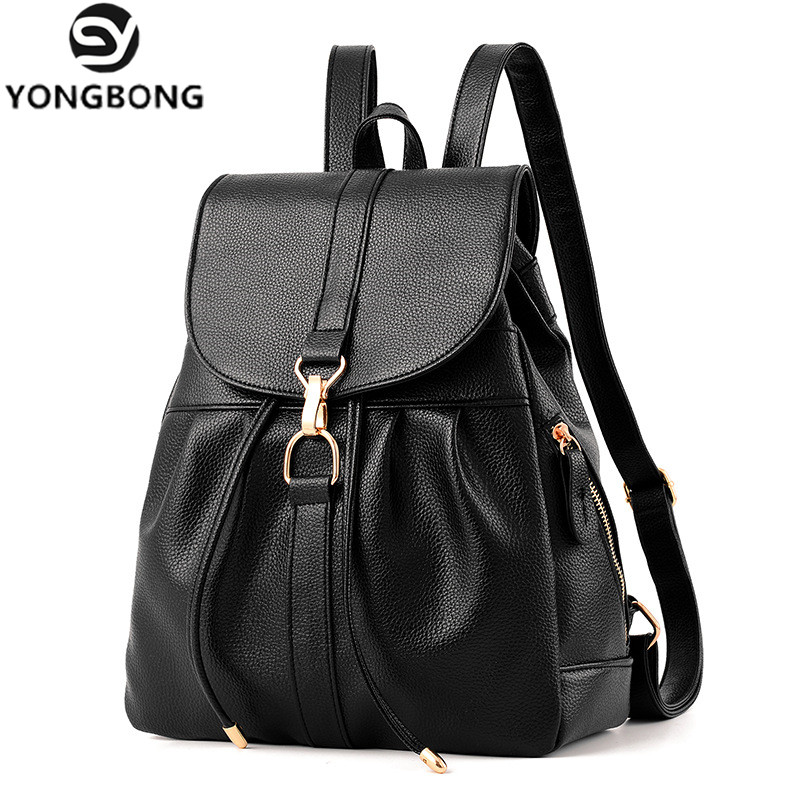 YONGBONG String Pretty Style Pu Leather Women s Backpack Female Vintage Student School Bags Black Blue