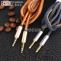3.5mm to 3.5mm Gold-Plated Cowboy Lether Thread Male to Male Aux Cable Stereo Auxiliary Cord Aluminum Alloy Audio Cable