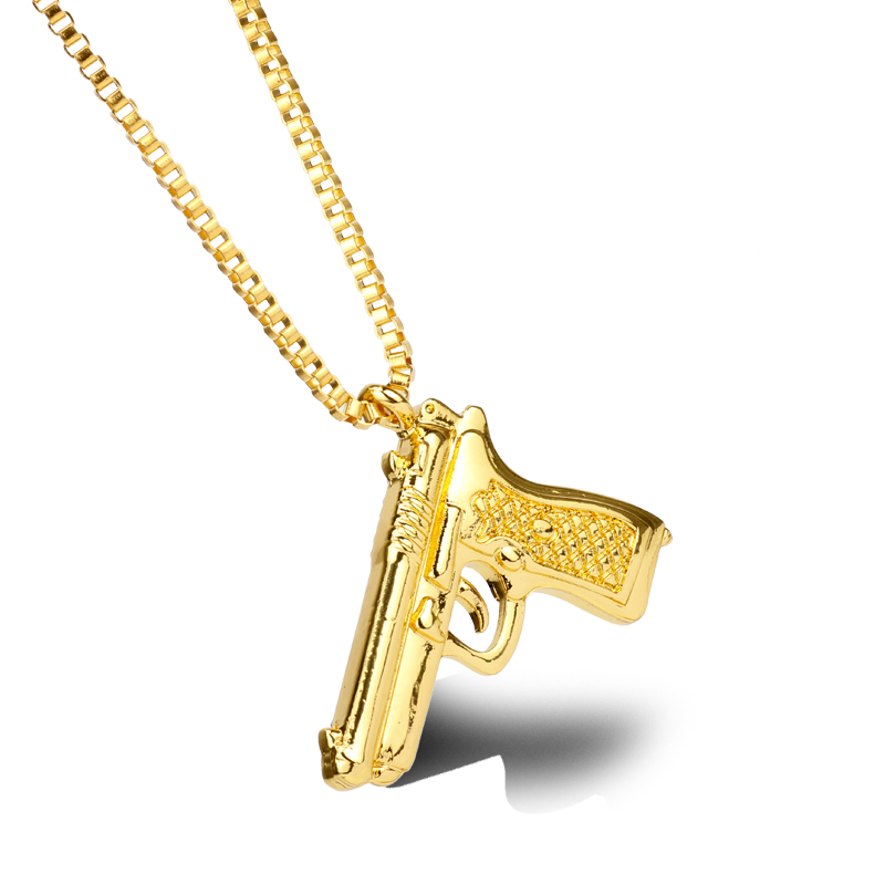 American Style Hip Hop Chain Men Women Pendant Necklace Gold 3 Color Vintage Roscoe Gun Necklace Jewelry Cool Gift For Men