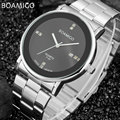 Мужские часы лучший бренд класса люкс кварцевые часы BOAMIGO бизнес стали авто дата часы 2017 горячий подарок наручные часы relógio masculino