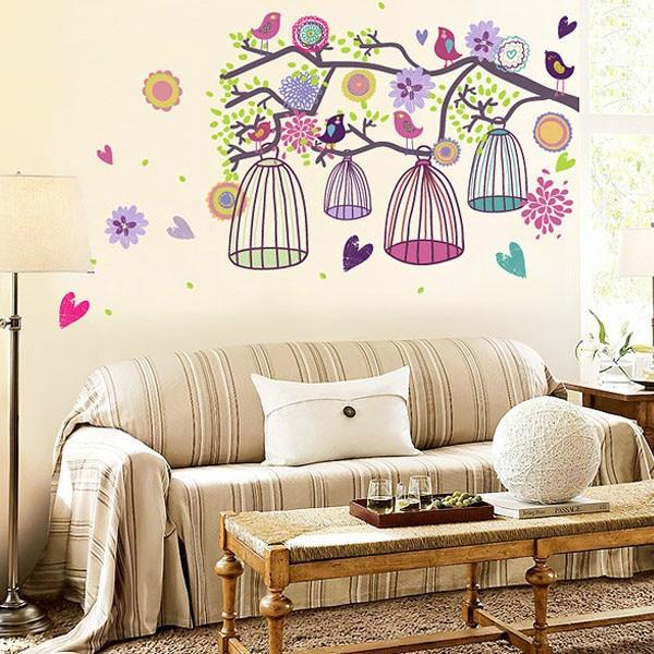 Bird Cage Flowers Heart Decal Sticker Mural Wallpaper Home Decor