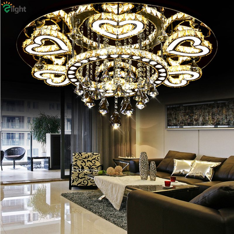 ФОТО Modern Luxury Lustre De Amber Crystal Ceiling Led Chandelier Mirror Steel Romantic Acrylic Metal Heart Design Chandelier Light
