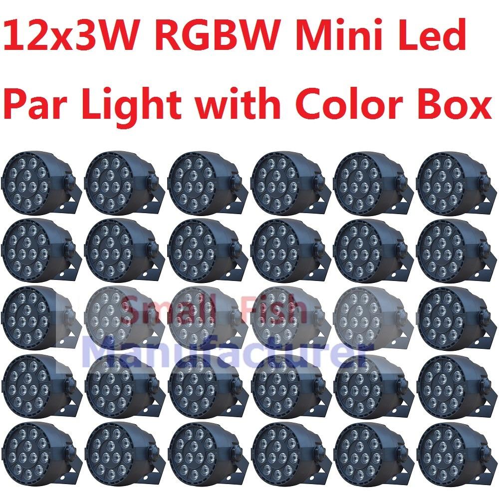 30xLot Hot Πωλήσεις Μίνι LED Φως Φως 12x3W RGBW επίπεδη Led Par μπορεί να ακούγεται Ενεργή Disco DJ DMX KTV Κόμμα Νυχτερινό Μπαρ Φωτισμός Στάδιο