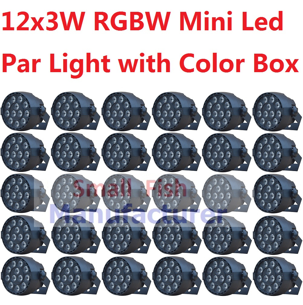 30xLot Hot Sales Mini LED Par Light 12x3W RGBW Flat Led Par Can Sound Active Disco DJ DMX KTV Party Nightclub Bar Stage Lighting
