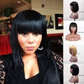 Aurica Fashion Hot Selling Heat Resistant Synthetic Hair Women Full Fringe Short Bob Wigs
