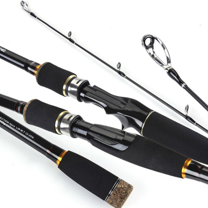 6/7/8/9 ft Portable Carbon Sea Lake Fishing Lure Rod Durable Distance Casting Spinning Hard Pole 3/4 Sections Fisherman Tackle
