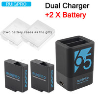 Ruigpro for 2Pcs 1220mah Rechargeable Battery +Hero5 6 7 Dual Battery Charger For GoPro Hero 7 6 GoPro 5 Black Sport Camera