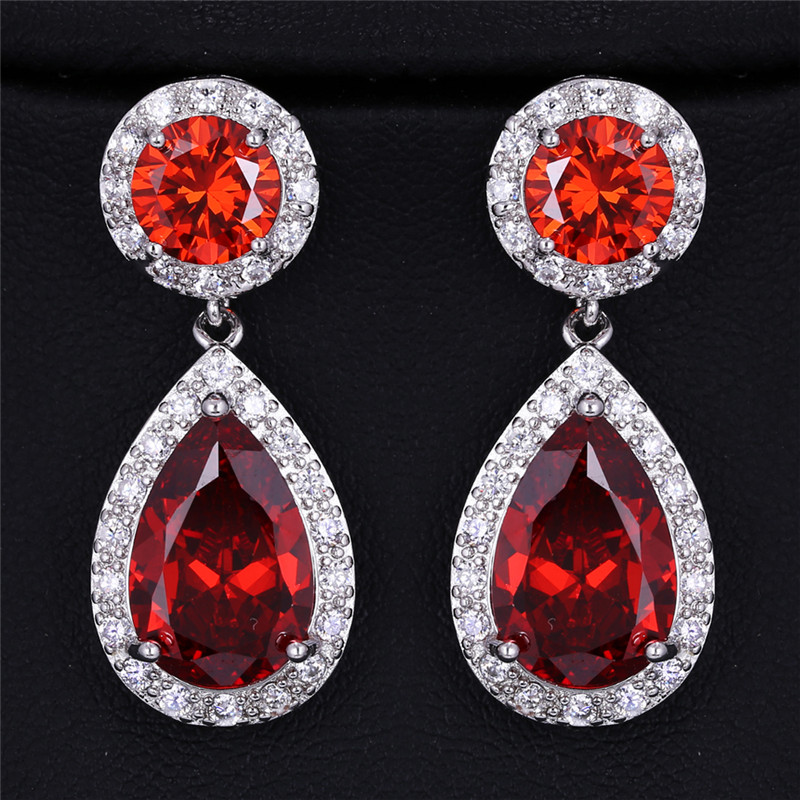 Fashion Red Green 2.8 Carat Large CZ Crystal white gold color Long Drop Earrings For Women