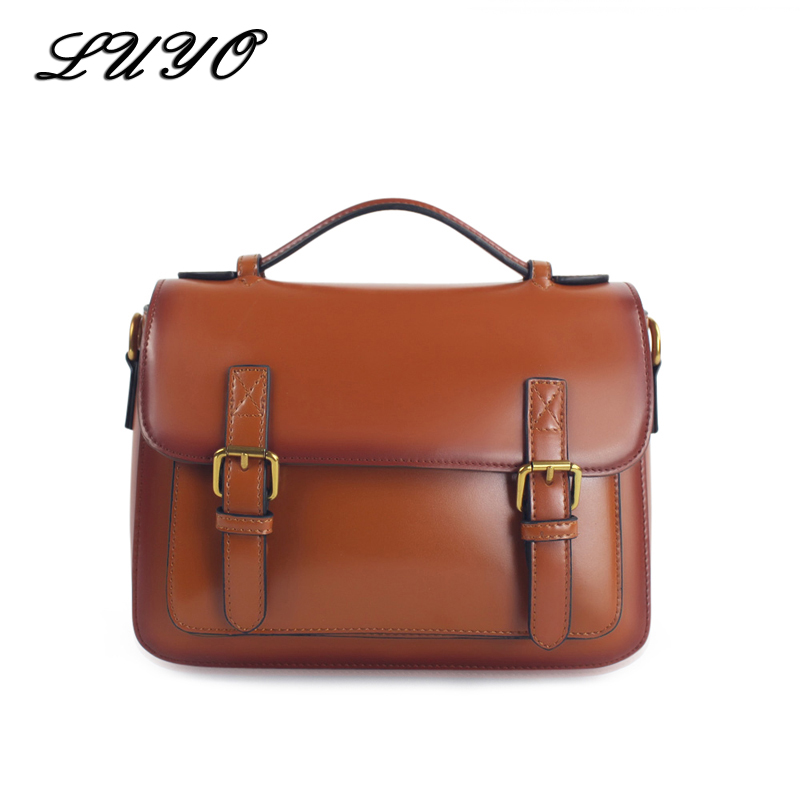 LUYO New Arrival Vintage Postman Women Leather Shoulder Bags Female Bolsa Feminina Bag Cross Body Summer Handbag Hand new arrival fashion women leather tassels handbag cross body single shoulder bucket bag lady girls vintage messenger bags bolsa