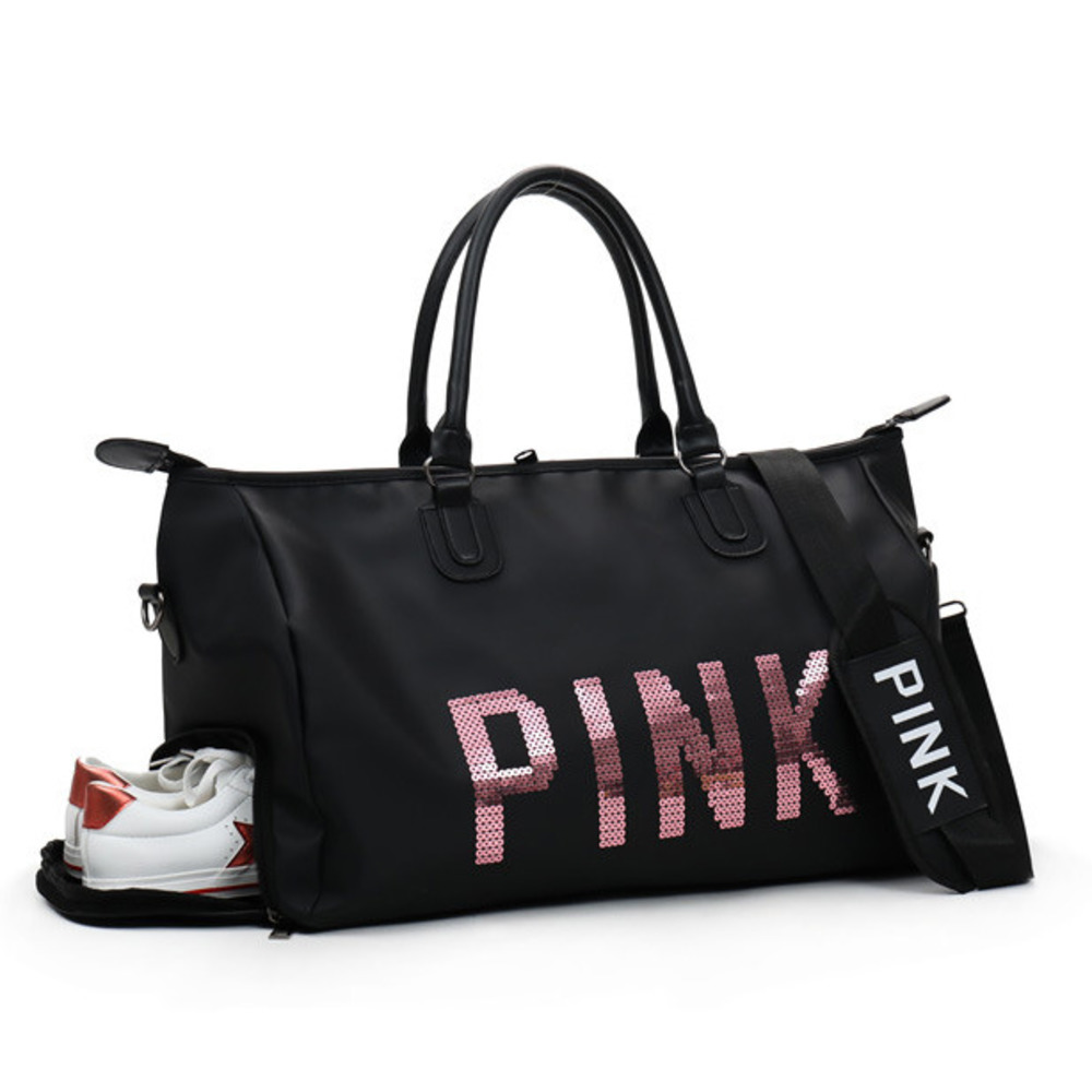 5e75aed9c09 New Black Sequins Love PINK Duffle Bag Women Gym Bags Travel Handbag  Shoulder Outdoor Separate Space ...