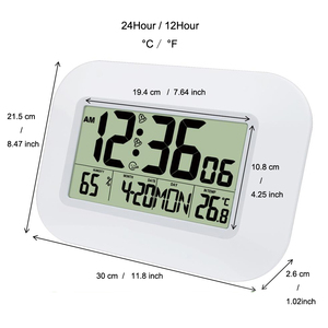 Image 3 - Big Number LCD Digital Wall Clock Table Desktop Alarm Clock with Temperature Thermometer Humidity Hygrometer Snooze Calendar