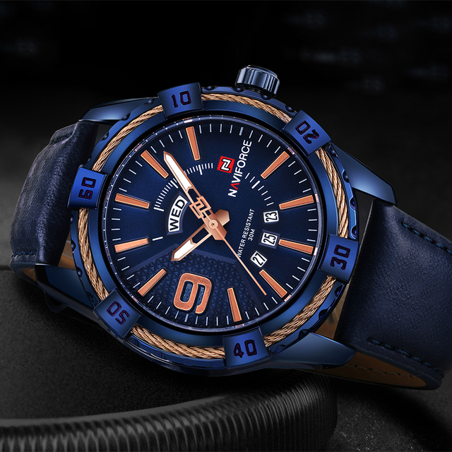 Naviforce Top Brand Men's Sport Watches Men 30M Waterproof Genuine Leather Analog Quartz Wrist Watch Fashion Man Calendar Clock
