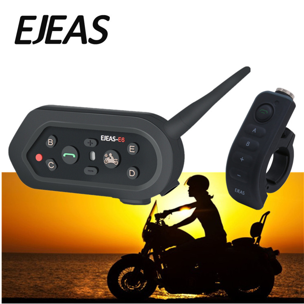 EJEAS E6 Plus with Remote Control Motorcycle Intercom 1200M Communicator Bluetooth Helmet Interphone Headsets VOX for 6 Riders