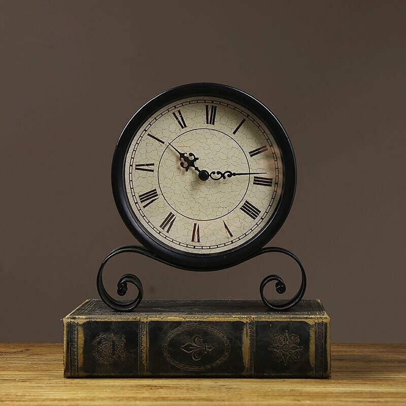 Classic Retro Clock, Vintage Silent Desk Clock Decorative Kitchen Table Clock Non Ticking Quartz Movement Battery Operated