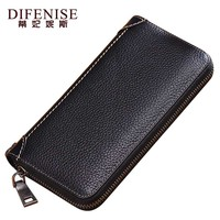 Difenise Genuine Leather Unisex Wallets Solid Fashion Organizer Wallets Long Style Women Blue Red Black Purses