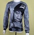 2017 Nueva Moda hoodies de los hombres/de las mujeres 3d sudaderas impresión retrato del personaje cantante Wiz Khalifa Hip Hop rock punk pullover